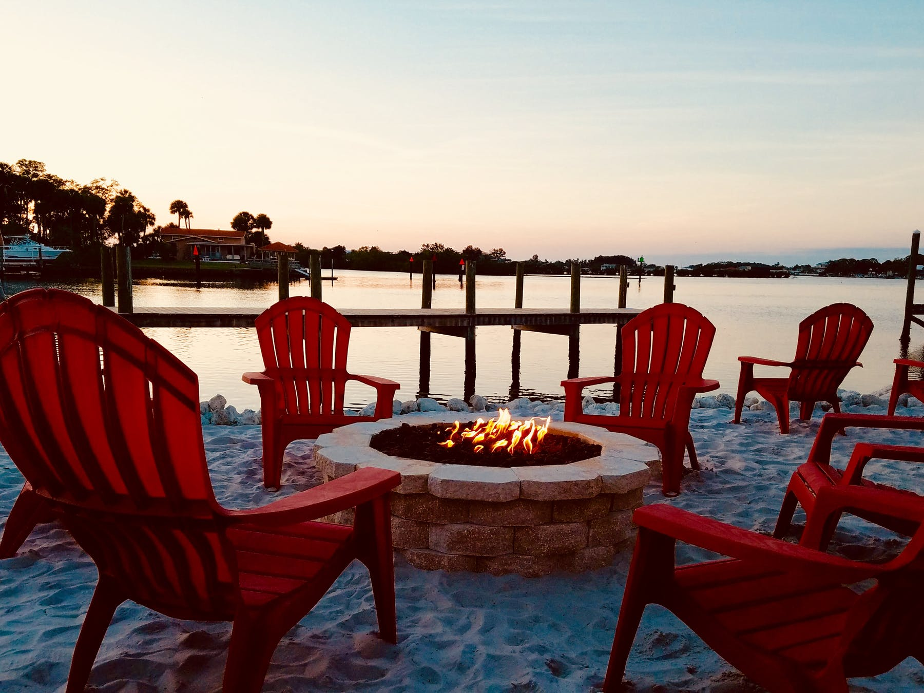 sitting area in a beach fireplace