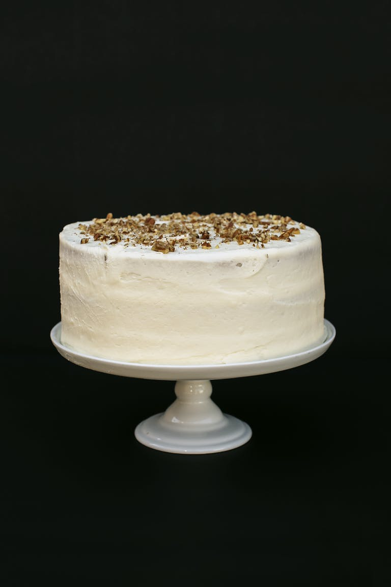 a white cake sitting on top of a table