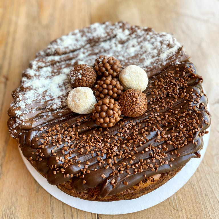 A cake covered in chocolate