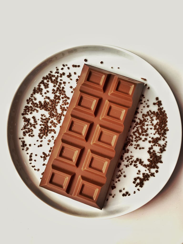 A chocolate Bar on a plate