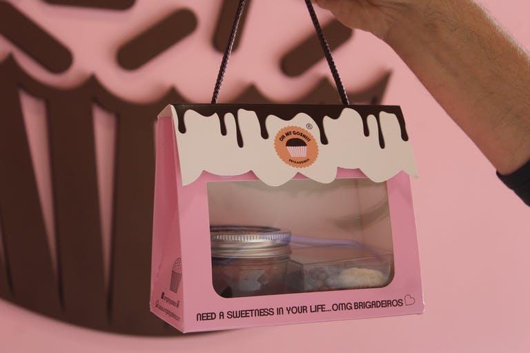 a close up of a pink bag