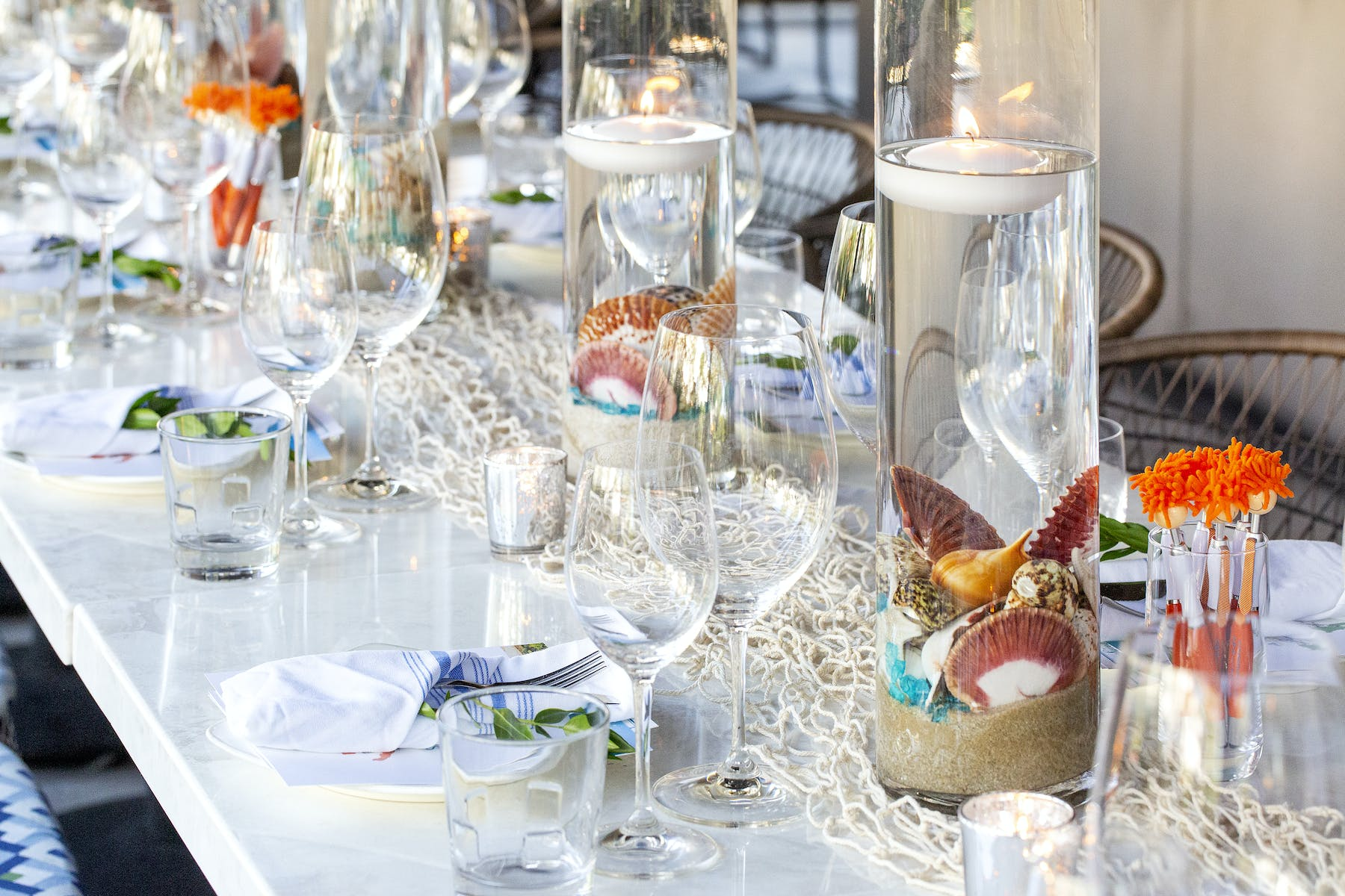 a dining table full of glasses