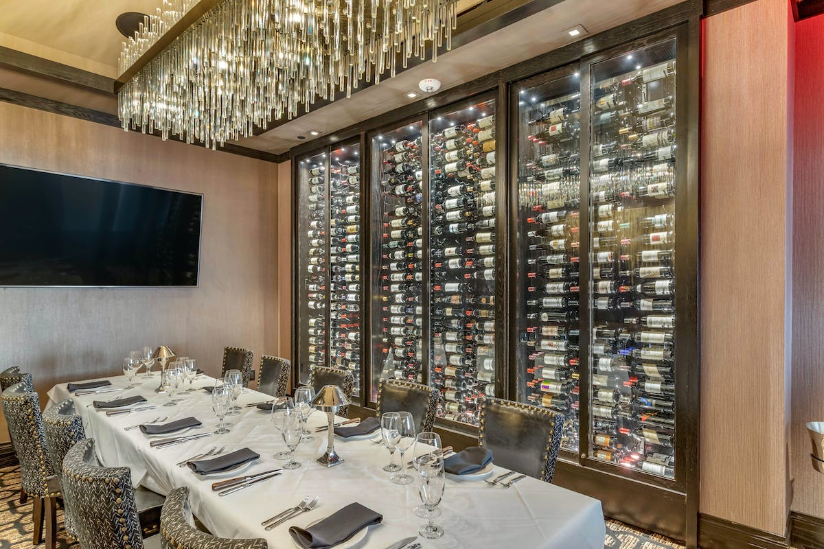 a dining room with a wine cellar