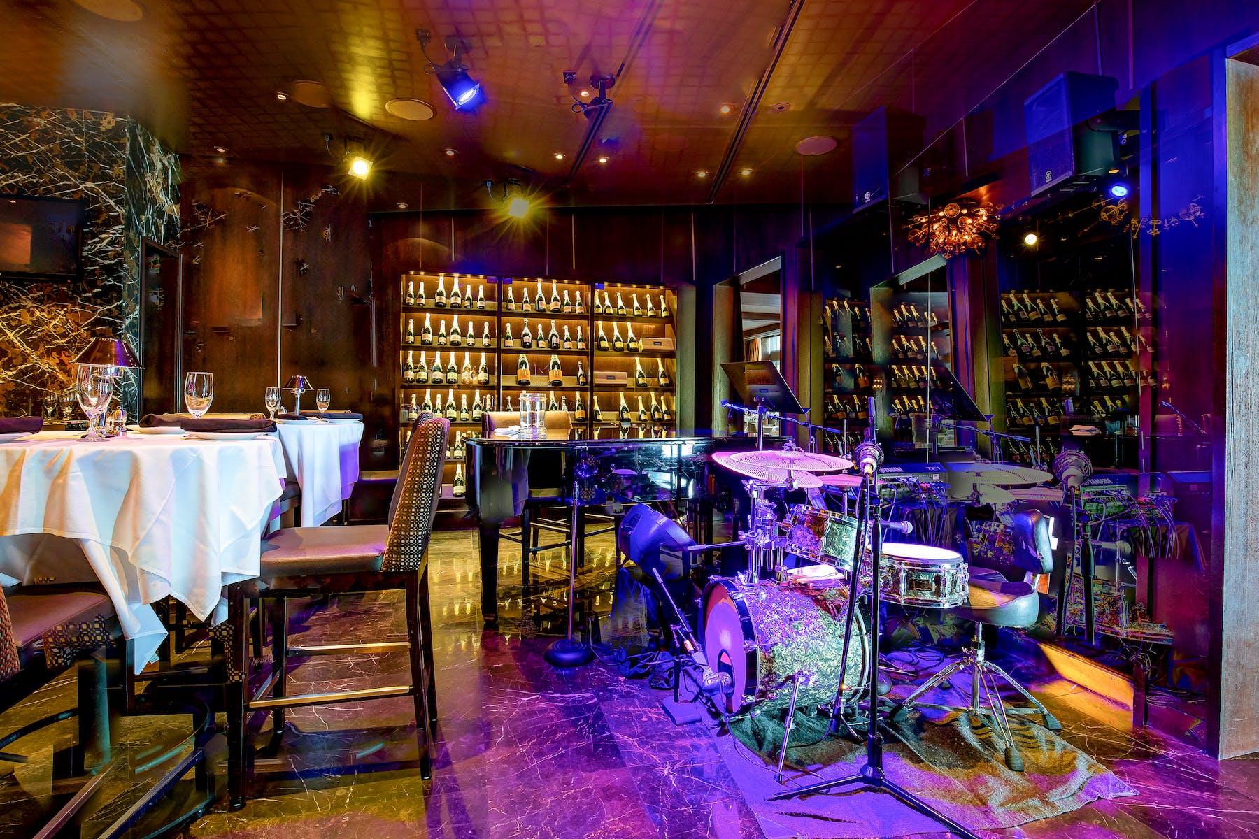 a dining room near a bar