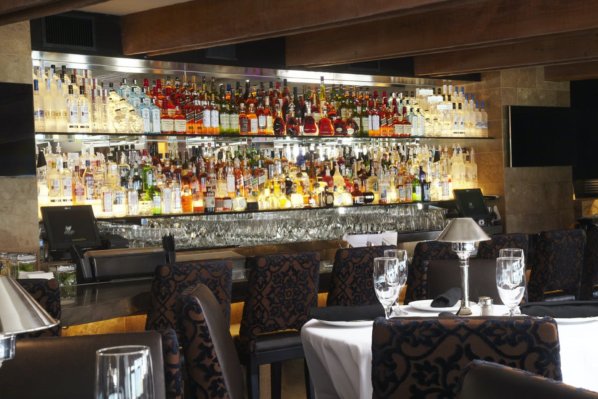 a bar area near a bar area