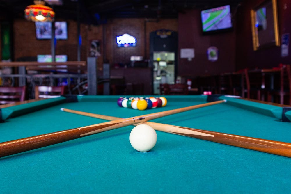 a pool table in a room