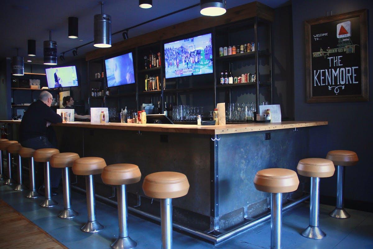 bar with bar stools