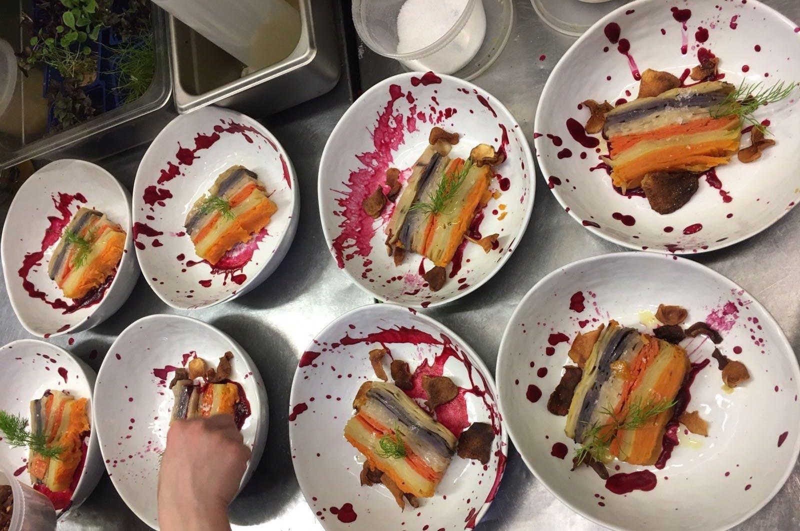 plates of veggies