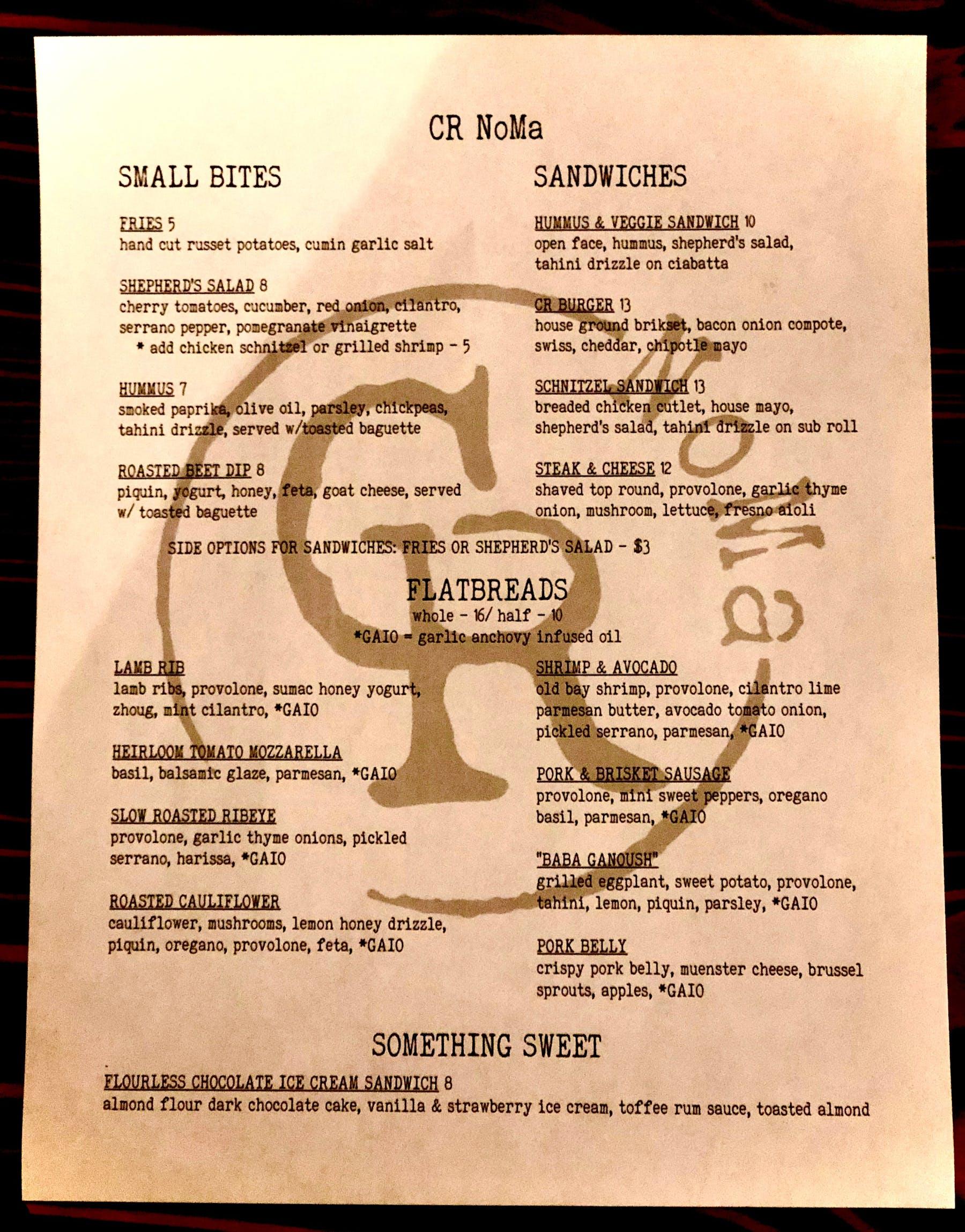 covid19 menu NoMa