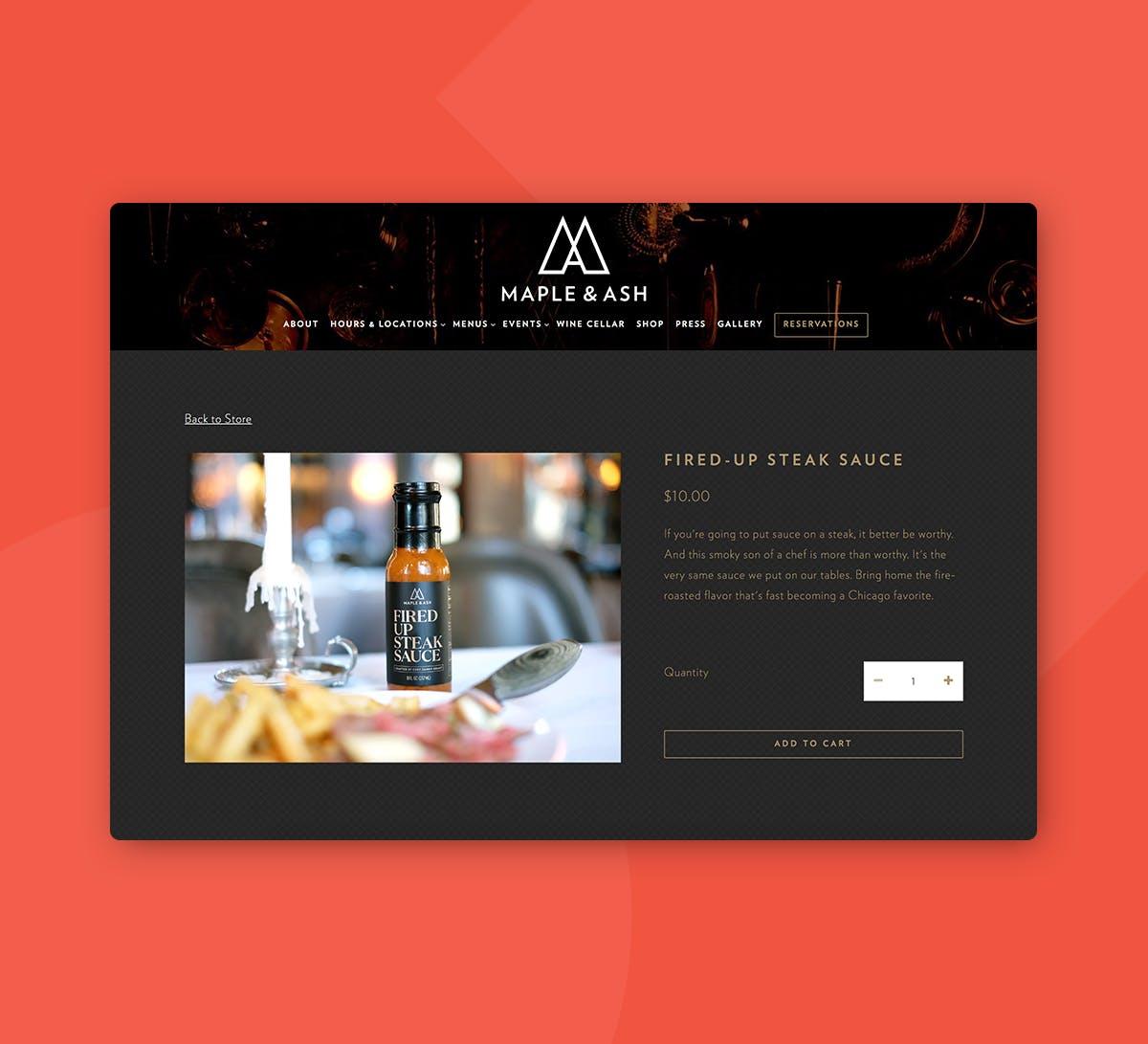 Screenshot of a restaurant website.