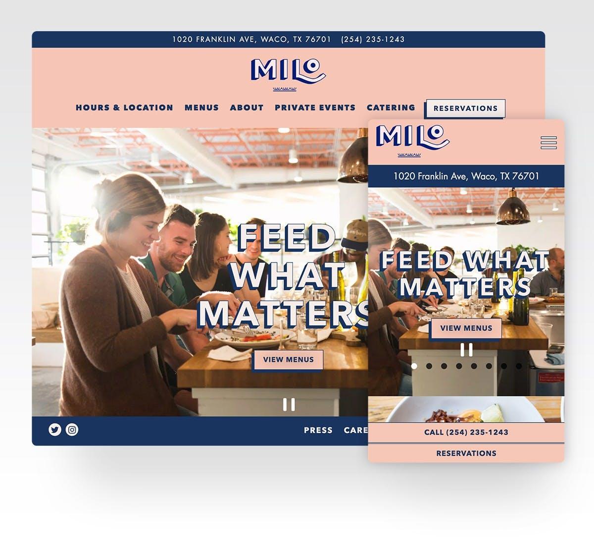 The website for Milo