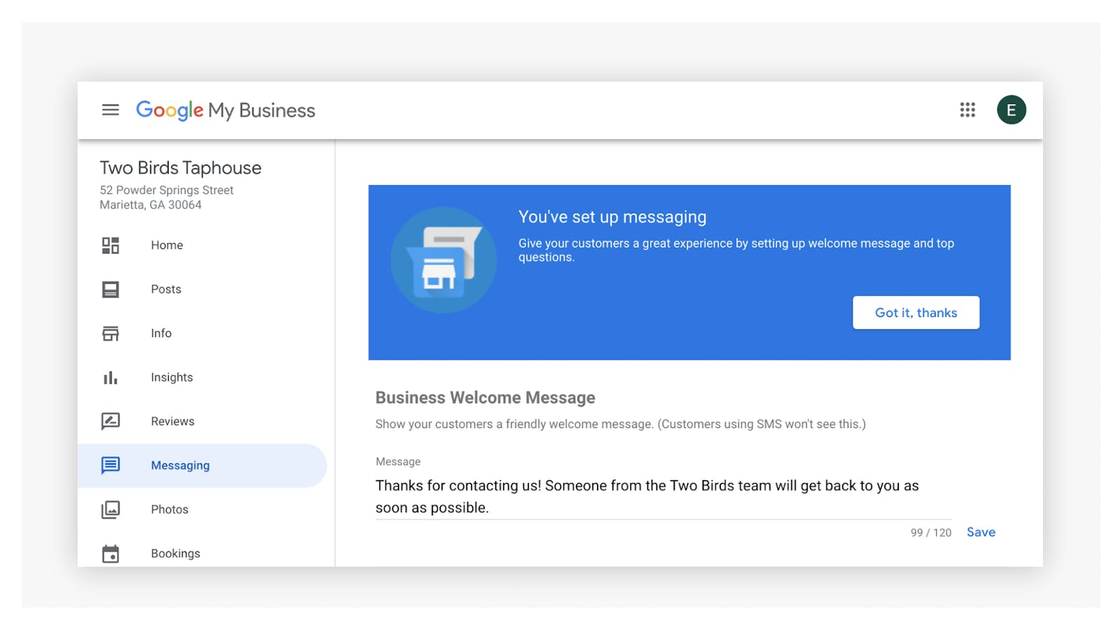 Turn on Google My Business Messaging to respond to restaurant reviews
