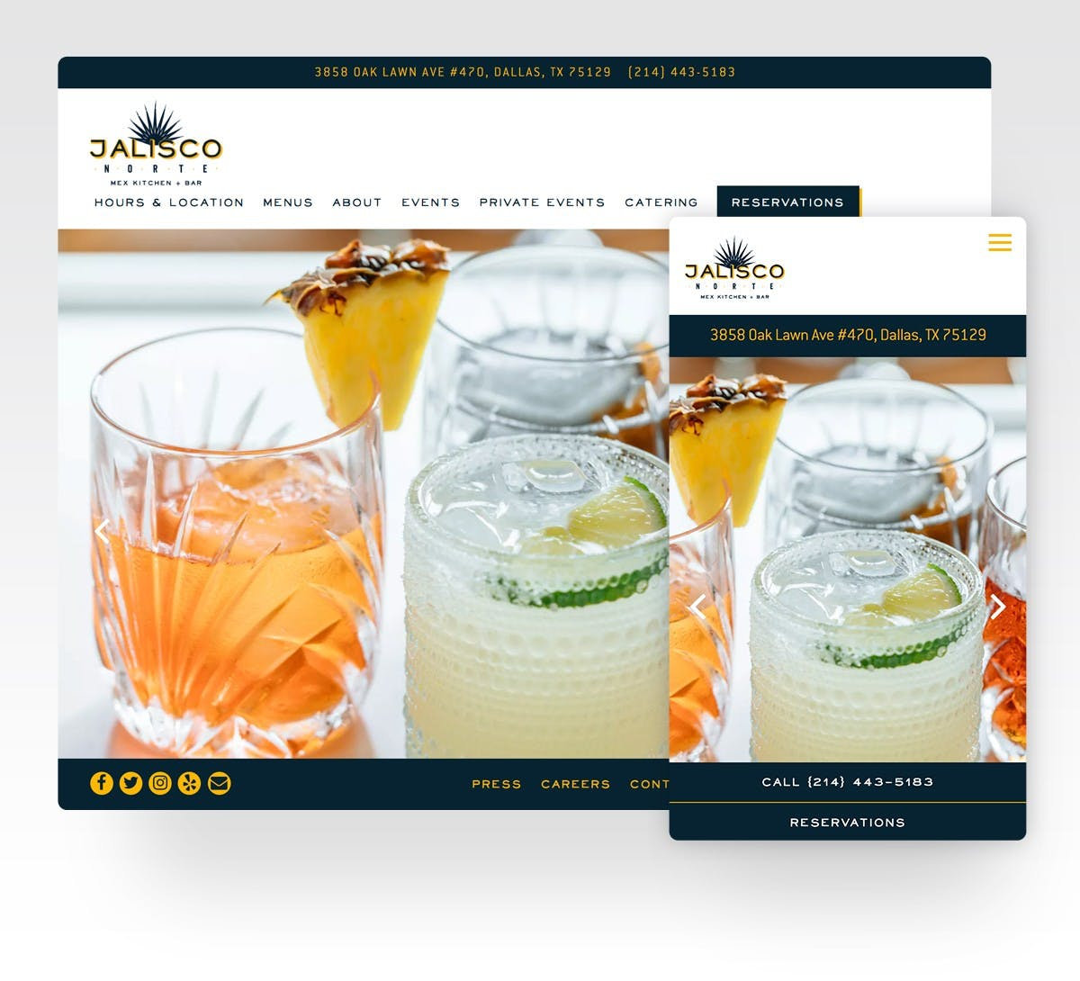 The website for Jalisco Norte